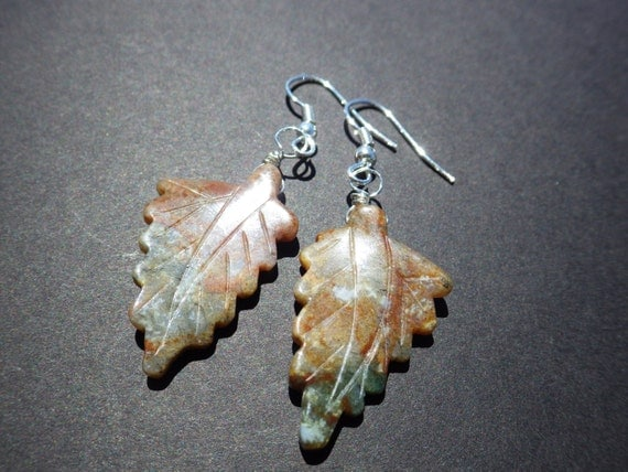 Jasper Leaf Earrings from CassieVision