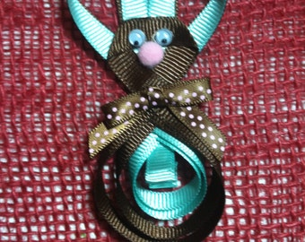 Bunny (Brown & Blue) Hair Clip