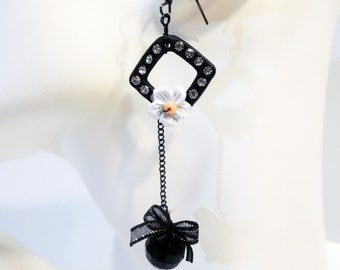 Black Rhinestone Pendant Drop Dangle Earrings with Flowers and Bows Handmade by Lindsey