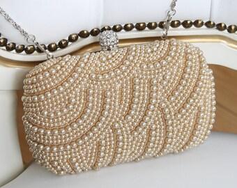 Bridal Handbag, Champagne Pearl Bridal Clutch, Bridesmaid Clutch, Pearl Wedding Bag, Bridal Handbag, Bridesmaid Gifts, Evening Handbag