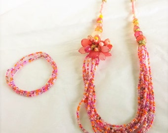 Bright Pink Flower Beaded Jewelry Set