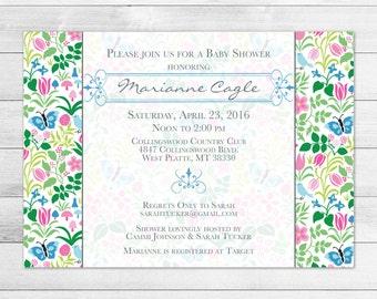 Spring Flowers Baby Shower Invitation, Flowers Invite Digital File