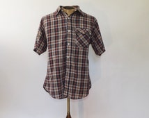 Vintage 1970s Mens Plaid Shirt Western Size Large Short Sleeve Button Up Cotton Shirt Hipster Boho 70s Mens Shirt Striped Plaid Summer Shirt
