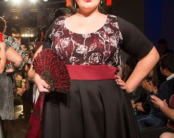 Plus Size Dress, Black and Red Plus Size Dress, Red Plus Size Dress, Lace Dress, Red Black Dress, Womens Dress