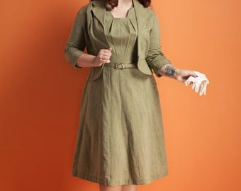 Vintage 1950s textured sage dress with jacket / matching belt / Fair Lady / pleated neckline / size M/L
