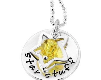 Personalised Star Stuff Necklace - Carl Sagan Quote - Sterling Silver - We Are Made of Star Stuff