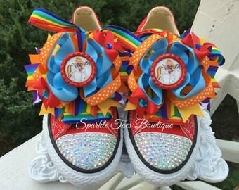 RAINBOW BRITE SHOES - Rainbow Brite Birthday - Rainbow Brite Party - Rainbow Brite Bows - Crystal Converse - Infant/Toddler/Youth