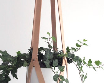 Plant hanger leather, ceiling planter, leather geometric hanging planter, vegetable tanned leather nude including white plastic pot
