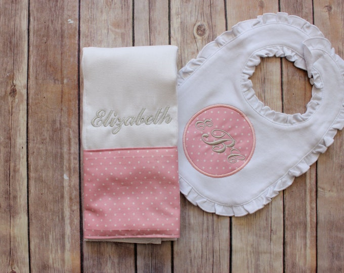 Monogrammed Girl's Bib and Burp Cloth Set - Personalized Pink and Grey Monogrammed Gift Set for Baby Girl - Pink Grey Burp Cloth Ruffled Bib
