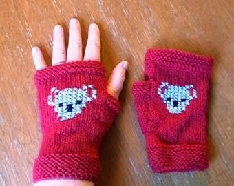 Australian Koala gloves - Red womens gloves - fingerless gloves - koala handmade gloves