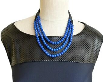 blue bead necklace / royal blue necklace / blue and black necklace / cobalt blue necklace / gift for woman / blue statement necklace