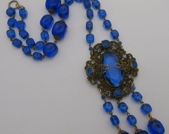 Antique Edwardian Art Deco Czech Filigree Glass Necklace ~ Peacock Blue Glass and Filigree ~ Czechoslovakian Electric Blue Glass Necklace