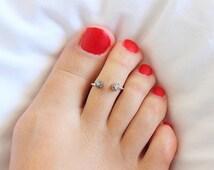 Raw Stone Toe Ring,  Druzy Toe Ring,  Sterling Silver Toe Ring , Minimal Modern Jewelry, Minimal, Multistone Rings, Gemstone Ring