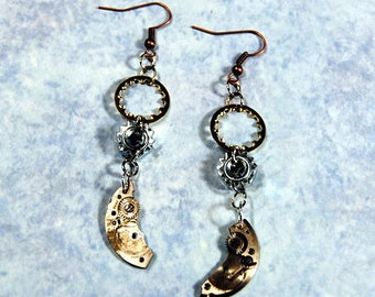 Hardware Jewelry Collection Steampunk Earrings Lock Washer Watch Part Nut Mixed Metal Dangle Handmade Repurposed Materials A283