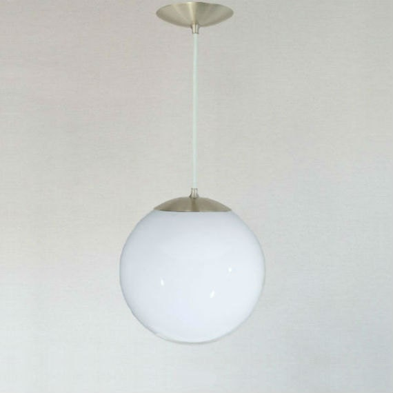 Mid century modern globe pendant light white glass 10 for Mid century modern globe pendant light