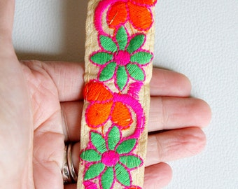 Beige Fabric Trim With Pink, Orange And Green Floral Embroidery, Approx. 34mm Wide - 140316L242C