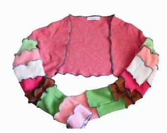 Recycled Cashmere Sweater Shrug Women's Medium Bolero Repurposed Pink