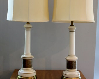 Pair of vintage lamps cream gold and brass // Greek key satin shades // Mid Century table lamps