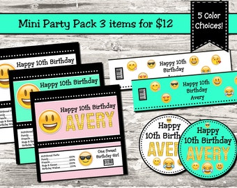 Emoji Birthday Party Mini Party Pack 3 Items Cupcake Topper Candy Wrapper Water Bottle Label Digital Printable