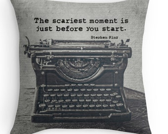 Typewriter Photo Pillow Cover, Vintage Typewriter Decor, Stephen King Typography, Quote, Gift for Writers, Gothic, Office Decor, English