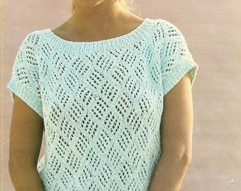 PDF Knitting Pattern Lacy Cotton Top 76-102 cm  Instant Download