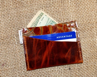 Power of the Purse Card Holder, Brown Leather Credit Card Holder, Brown Leather Wallet, Business Card Case