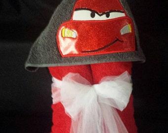Cars lightning McQueen Hooded Towel