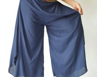 WL0004 Lady Navy soft wide leg style lady pants with elastic waistband