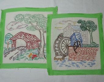 Set of 2 Vintage Doilies or Wall Hangings Featuring Covered Bridge & Grist Mill Water Wheel, Fine Embroidery, Green Edges, Cotton, 1940s