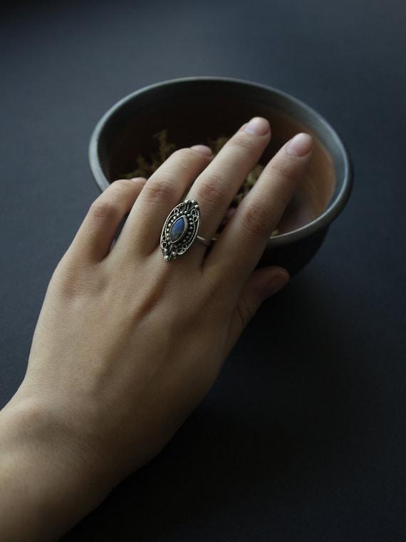 labradorite Silver Ring, silver boho labrador ring, silver ethnic labrador jewelry, Silver Rings Women, sterling bohemian ring