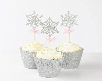 Snowflake Cupcake Topper- Silver Glitter Snow Flake, Frozen Birthday Party, Decorations, Pink and Silver Decorations, Winter Onederland