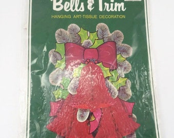 Vintage Beistle Honeycomb Christmas Bell Decoration Hanging Art Tissue Decoration Vintage Bells & Trim Pinecone Red Bell Christmas Hanging