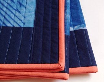 Modern Throw Quilt | Hand-dyed | Indigo Shibori Patchwork | Modern Decor | Wedding Gift