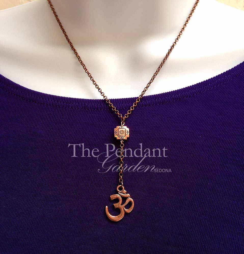 om necklace copper y necklace om pendant by