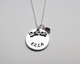 Dance Necklace, Child Stamped Necklace, Teenager Stamped Necklace