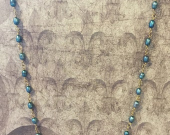 Turquoise Wire-wrapped Freshwater Pearl Necklace