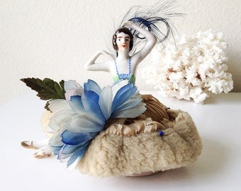 Vintage porcelain half doll pincushion ballerina arms feet blue green shabby sheepskin deco brunette flapper girl