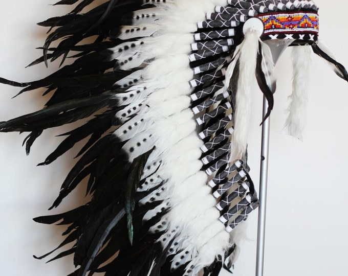 PRICE REDUCED N77 - Medium Size Double Feather Headdress (36 inch long ).