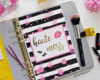"""Planner DASHBOARD: """"Haute Mess"""" w/ glam lashes, lipstick, pink bokeh lights, black & white paint stripes (A5, Personal, Half-Letter, Pocket)"""