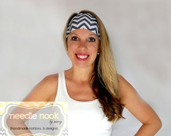 The Gray Chevron Yoga Headband - Spandex Headband - Boho Wide Headband