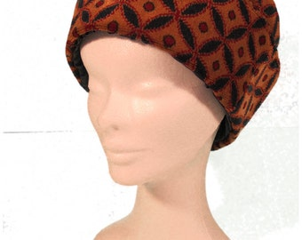 Tan, Blue and Red Chenille Cloche Hat