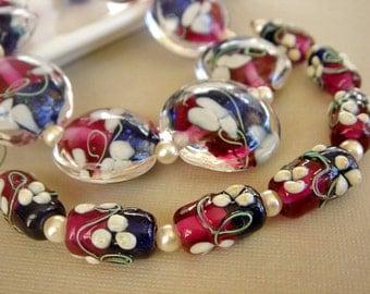SRA Lampwork Beads, Blue Pink Glass Beads, Floral Lampwork, Destash Beads - 17 beads