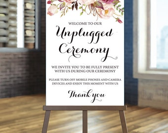 Printable Wedding Sign, Unplugged Wedding Sign, Unplugged Ceremony Sign, Floral Wedding Sign, Blush wedding Sign Rustic Ceremony Sign Ashley
