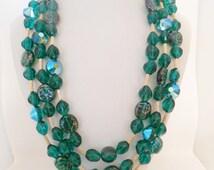 Trifari Necklace Multi Strand Molded Glass & Crystal Emerald Green Crown Trifari