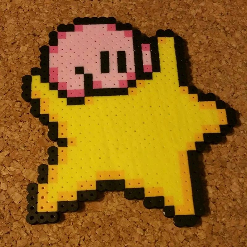 Kirby Perler Sprite Kirby On Warp Star & Sleep Kirby