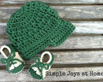 The Samuel Set {The Baby Project} Green and Tan Crocheted Hat and Shoe Set // Infant Boy Set // Baby Shower Gift // Photo Prop