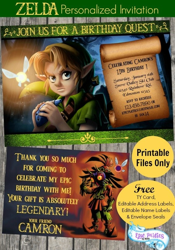 Diy zelda invitation zelda printable invitation zelda il570xn stopboris Choice Image