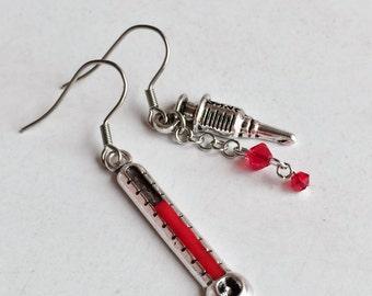 Thermometer Syringe Needle Stainless Steel Earrings, Nurse Doctor Earrings, Fun Drop Dangle Earrings E113