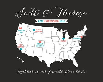 Travel Map, Custom Gift for Bride and Groom -  Personalized Print, Honeymoon, Wedding, Engagement - 1st Anniversary Gift for Husband | WF382