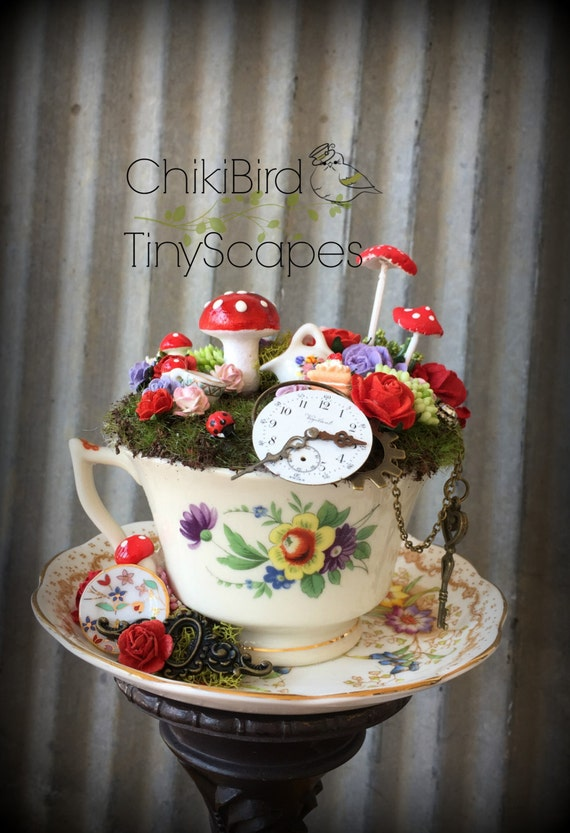 Tea Cup Garden Fairy Village Fairy Tea Cup Cake Topper
